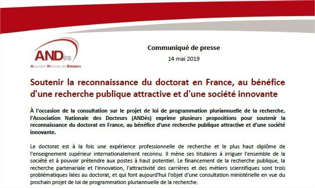 2019-05-14-Communique-Projet-Loi-programmation-pluriannuelle-recherche