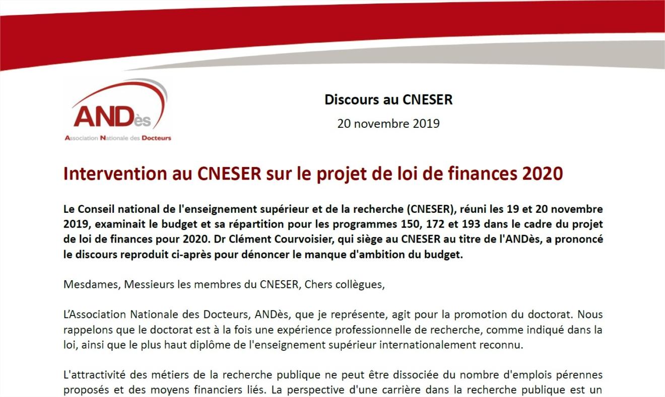 2019-11-20-Discours-CNESER-ANDès-PLF-2020
