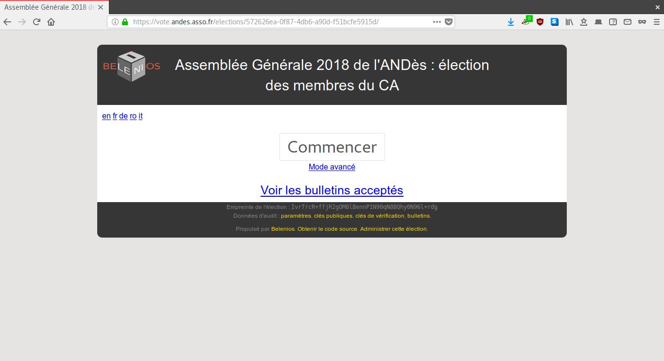 Accès à l'interface de vote
