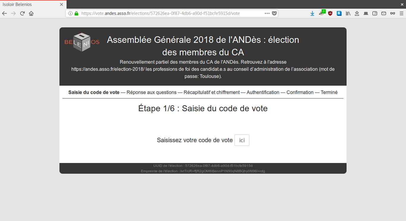 Saisie du code de vote